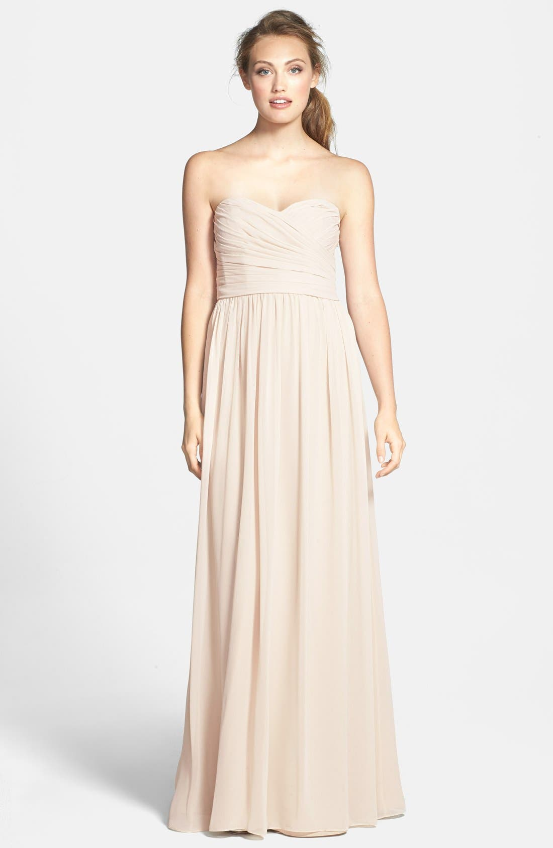 Alternate Image 1 Selected - Monique Lhuillier Bridesmaids Strapless Ruched Chiffon Sweetheart Gown