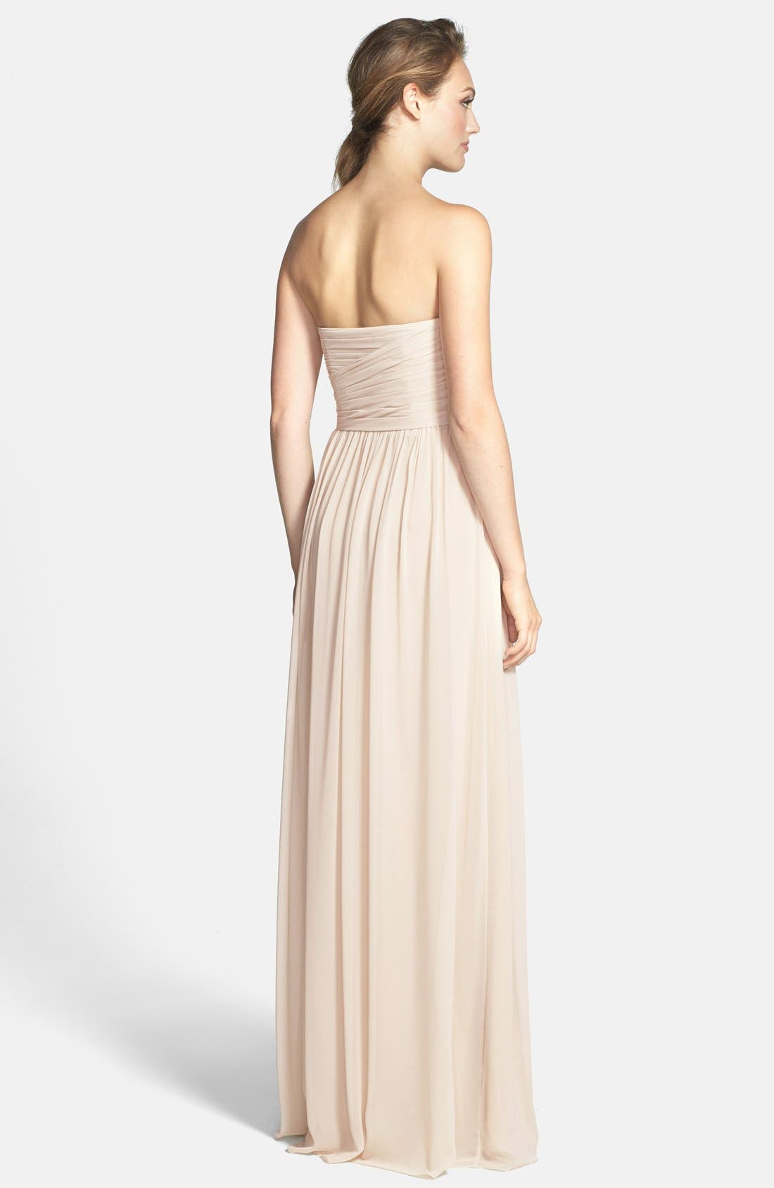Alternate Image 2  - Monique Lhuillier Bridesmaids Strapless Ruched Chiffon Sweetheart Gown
