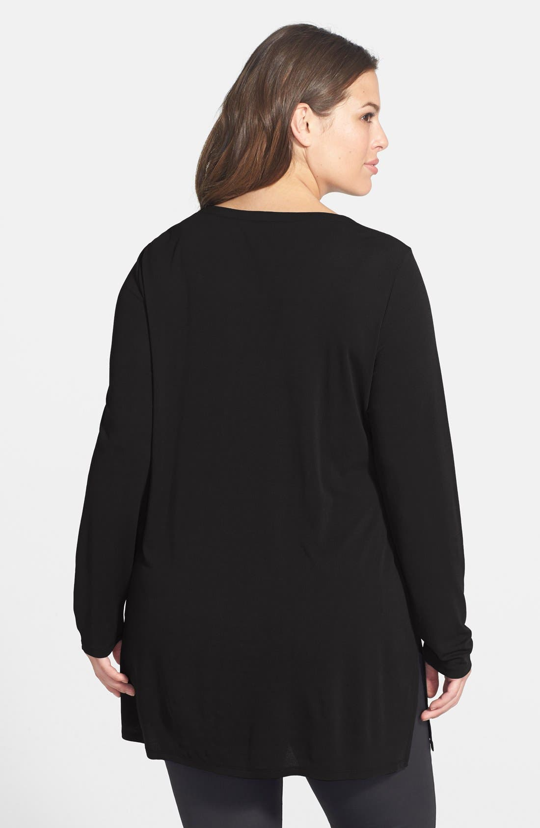 Alternate Image 2  - Eileen Fisher Scoop Neck Silk Jersey Tunic (Plus Size)