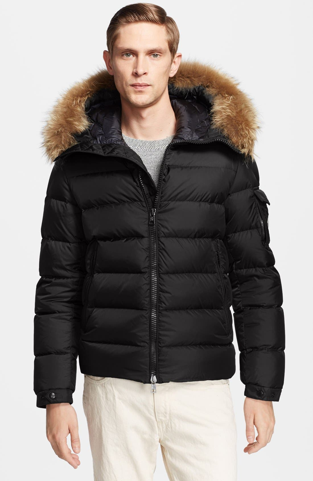Main Image - Moncler 'Byron' Down Jacket with Fur Trimmed Hood