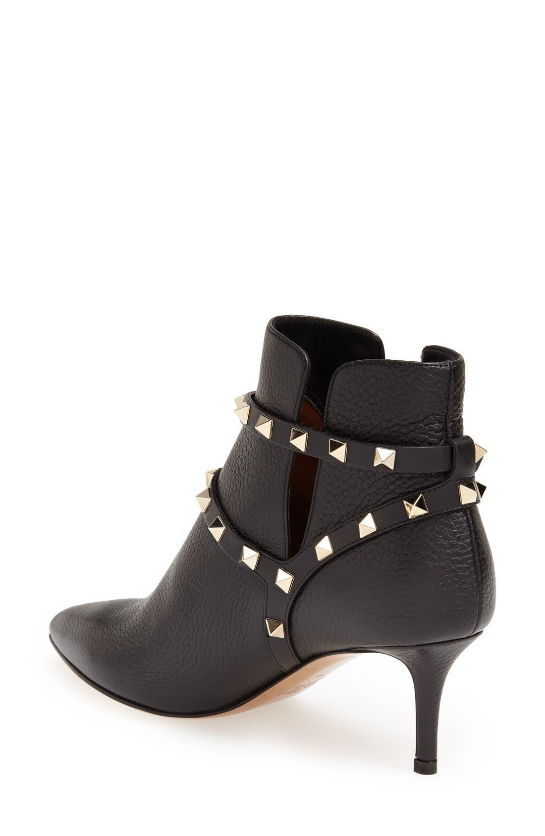 Alternate Image 2  - Valentino 'Rockstud' Pointy Toe Calfskin Leather Bootie (Women)