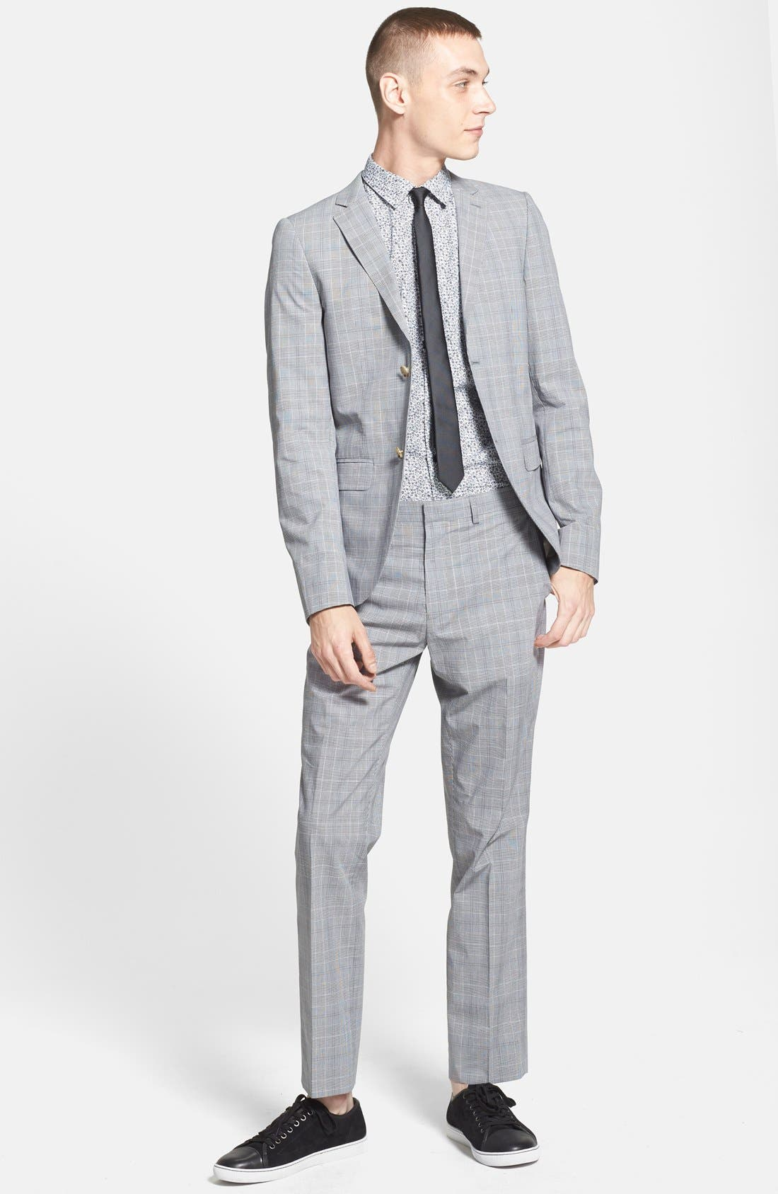 Alternate Image 4  - Topman Skinny Fit Plaid Suit Trousers