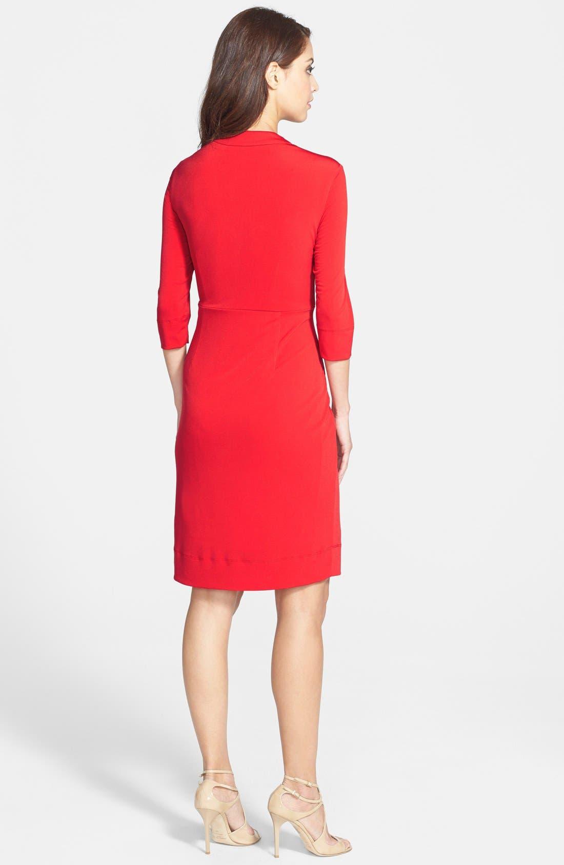 Alternate Image 2  - Donna Ricco Twist Front Jersey Sheath Dress