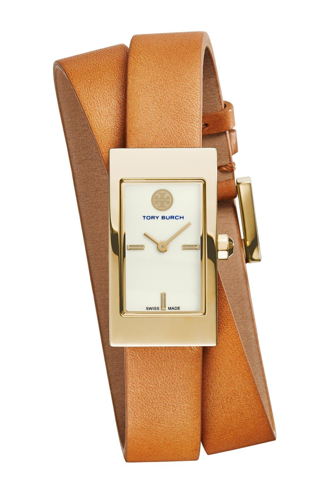 Main Image - Tory Burch 'Buddy Signature' Rectangular Wrap Leather Strap Watch, 17mm x 31mm