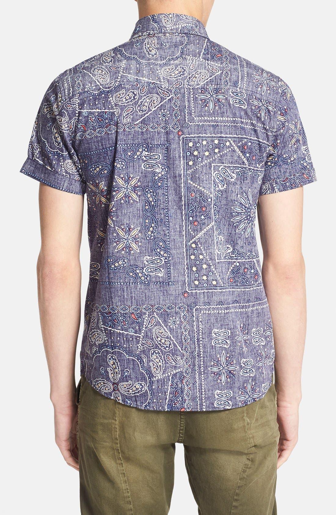 Alternate Image 3  - Native Youth Gypsy Paisley Print Short Sleeve Chambray Shirt