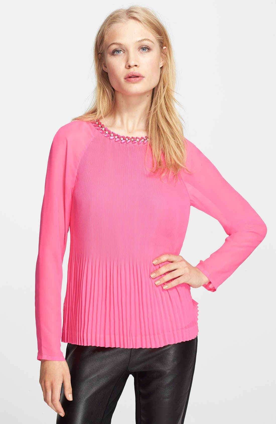 Main Image - Ted Baker London 'Lovina' Beaded Neck Pleated Top