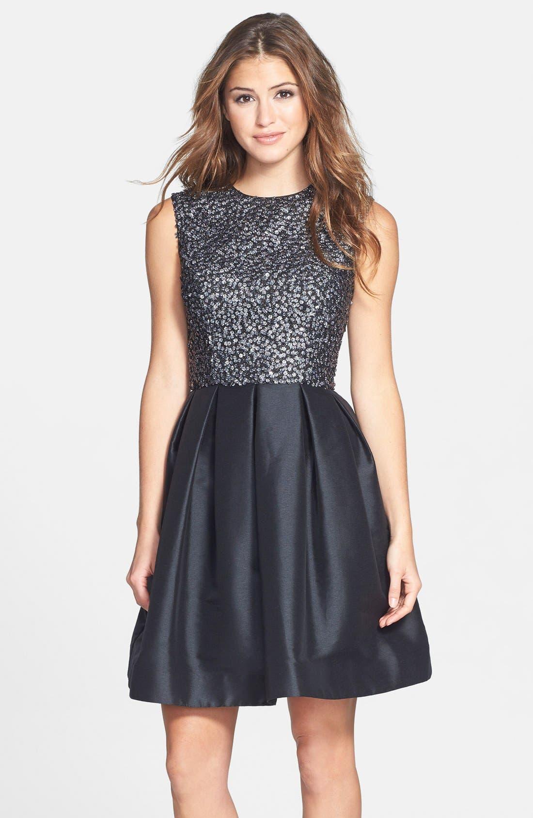 Main Image - ML Monique Lhuillier Embellished Fit & Flare Dress