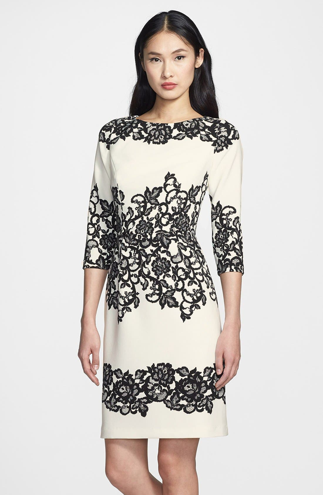 Adrianna Papell Placed Print Sheath Dress