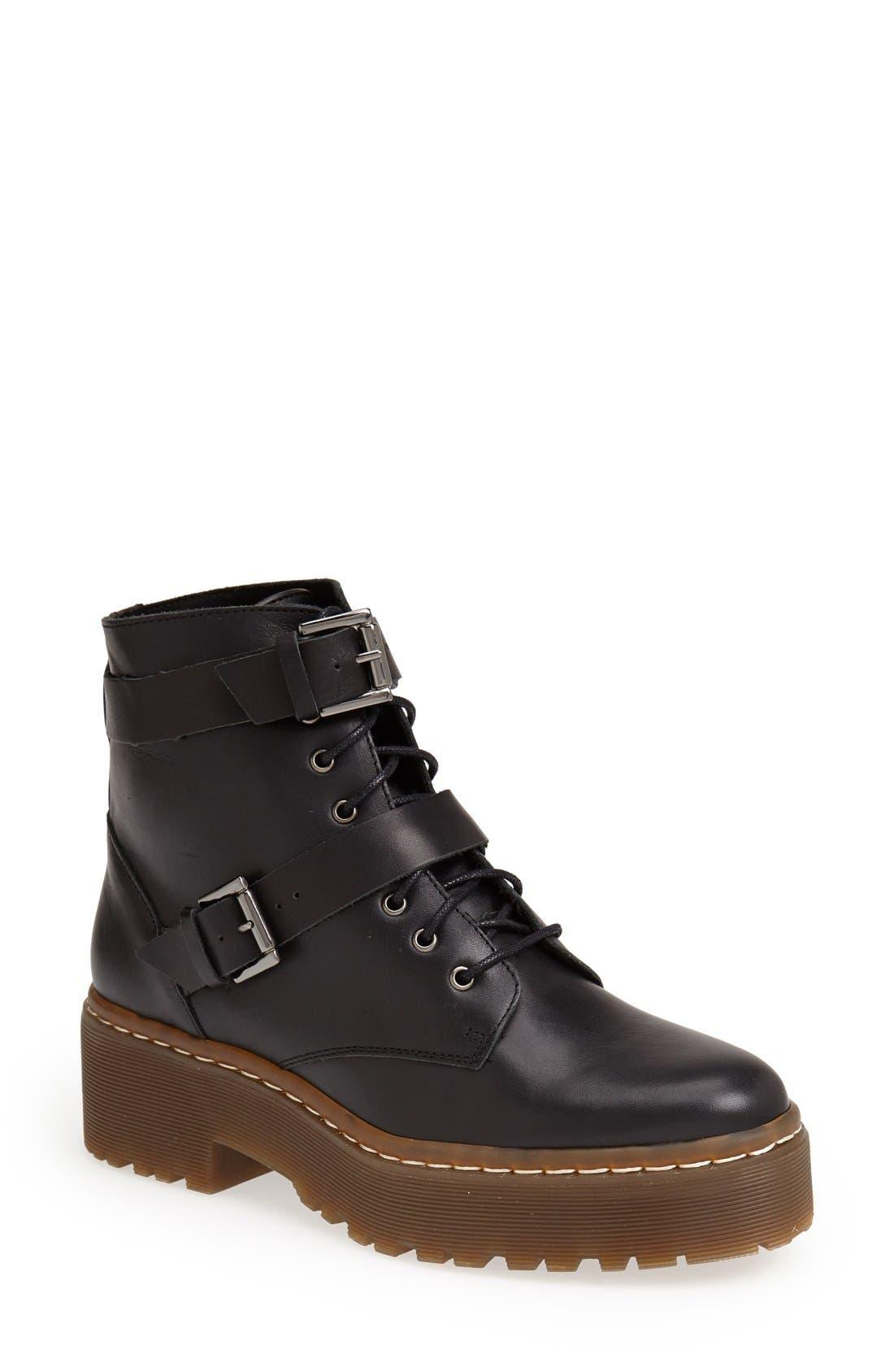 Alternate Image 1 Selected - Topshop 'Auction' Lace-Up Platform Boot (Women)