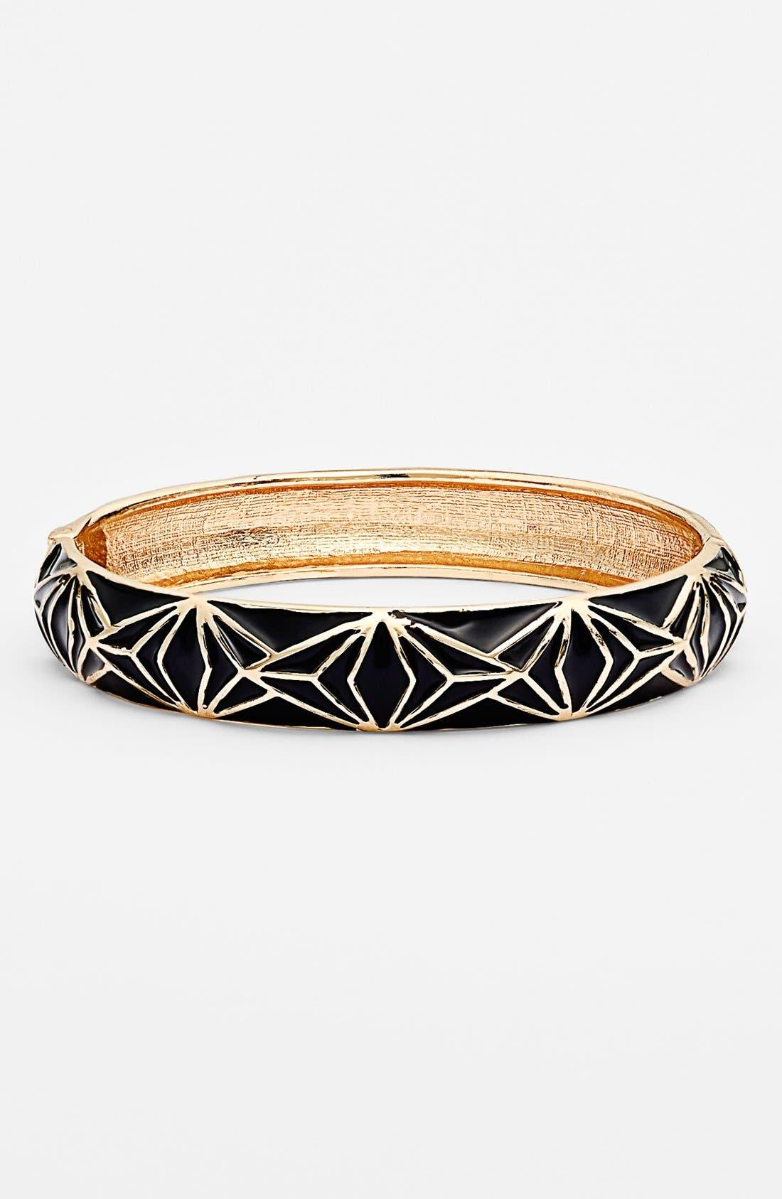Main Image - Sequin Enamel Hinged Bangle Bracelet
