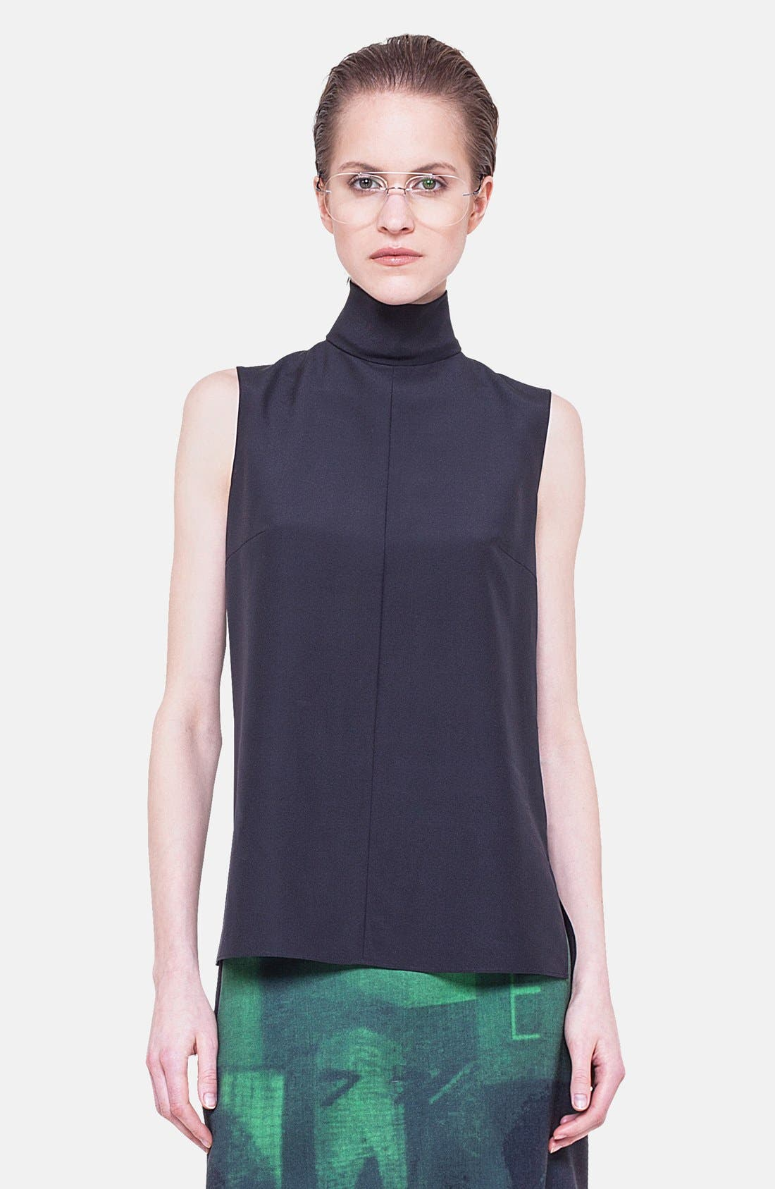 Alternate Image 1 Selected - Akris Mock Neck Silk Blouse
