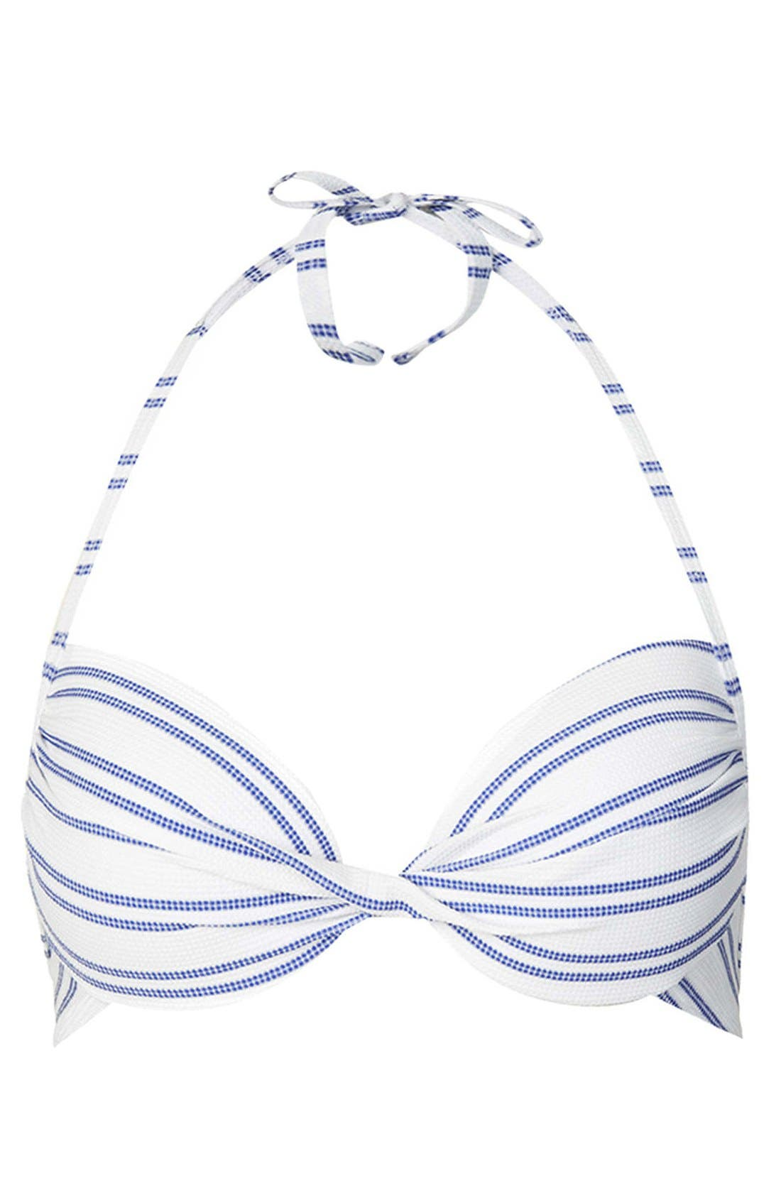 Alternate Image 1 Selected - Topshop Textured Stripe Plunge Bikini Top