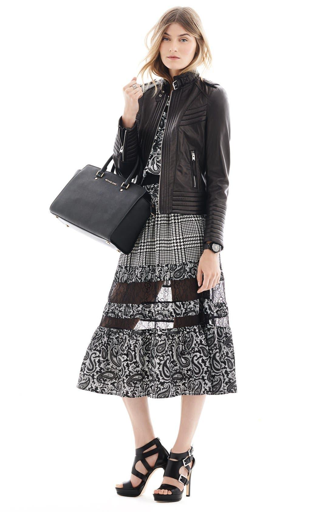 Alternate Image 4  - MICHAEL Michael Kors Quilt Detail Leather Jacket (Online Only)