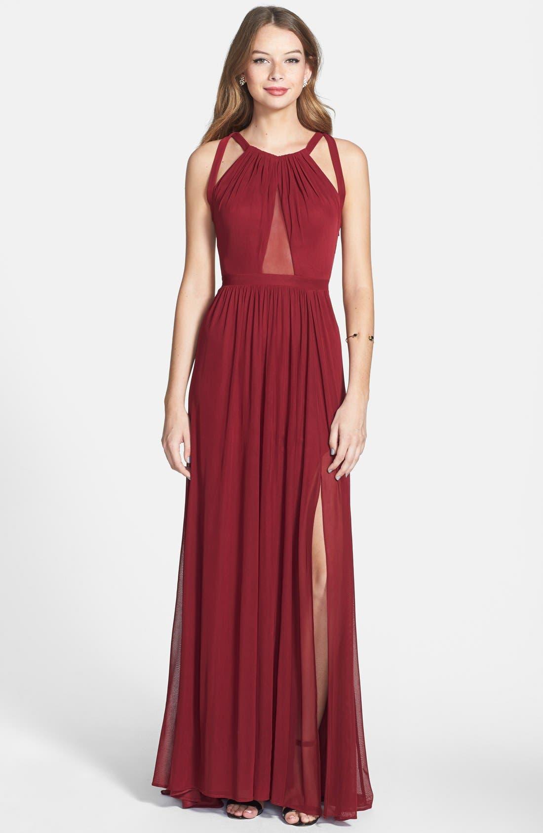 Main Image - La Femme Cutout Mesh Gown