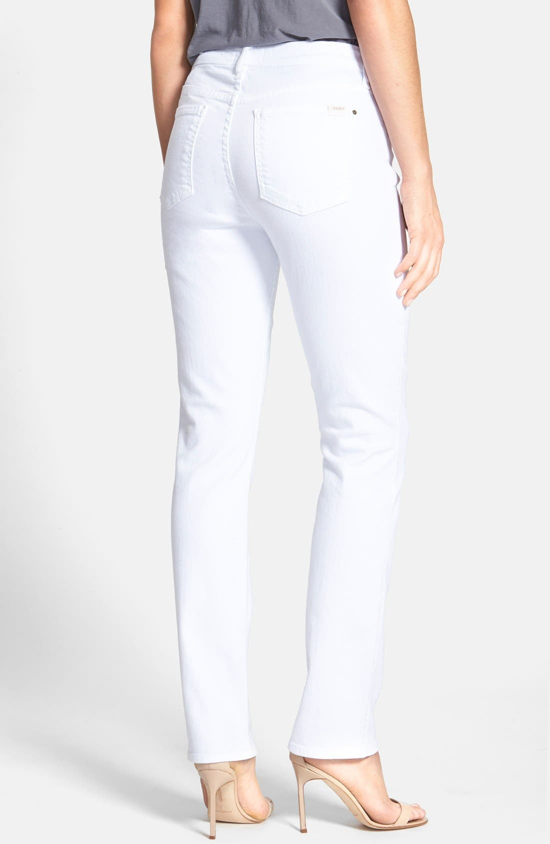Alternate Image 2  - Jen7 Stretch Slim Straight Leg Jeans (White Denim)