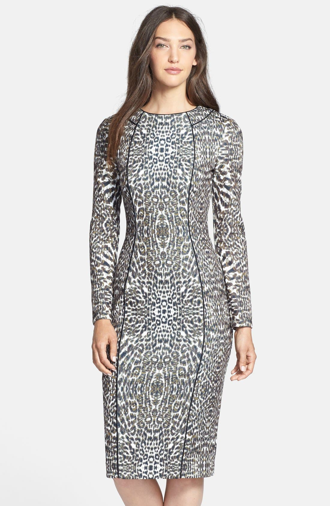 Main Image - Maggy London Print Long Sleeve Scuba Sheath Dress