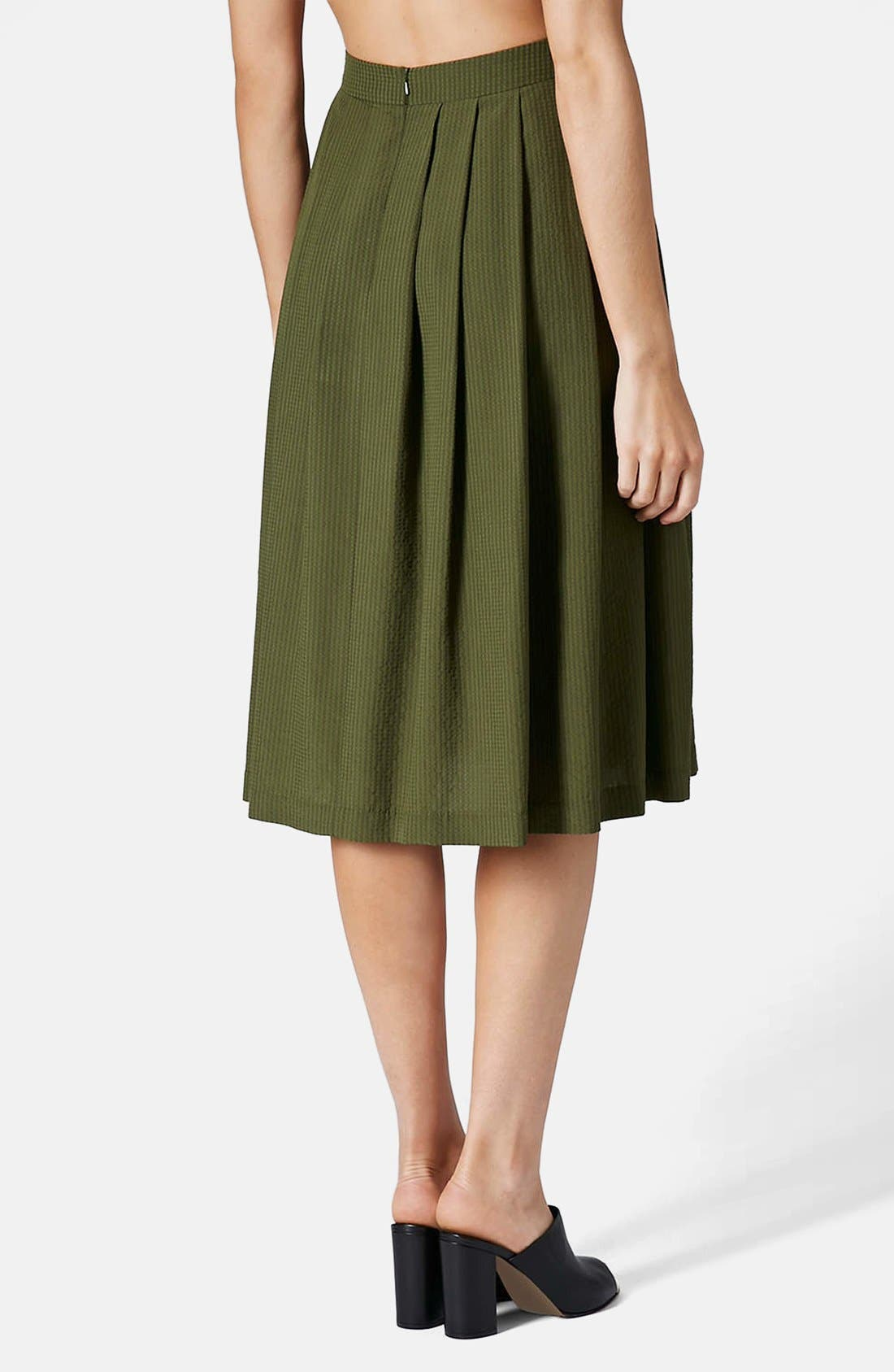 Alternate Image 2  - Topshop Seersucker Midi Skirt