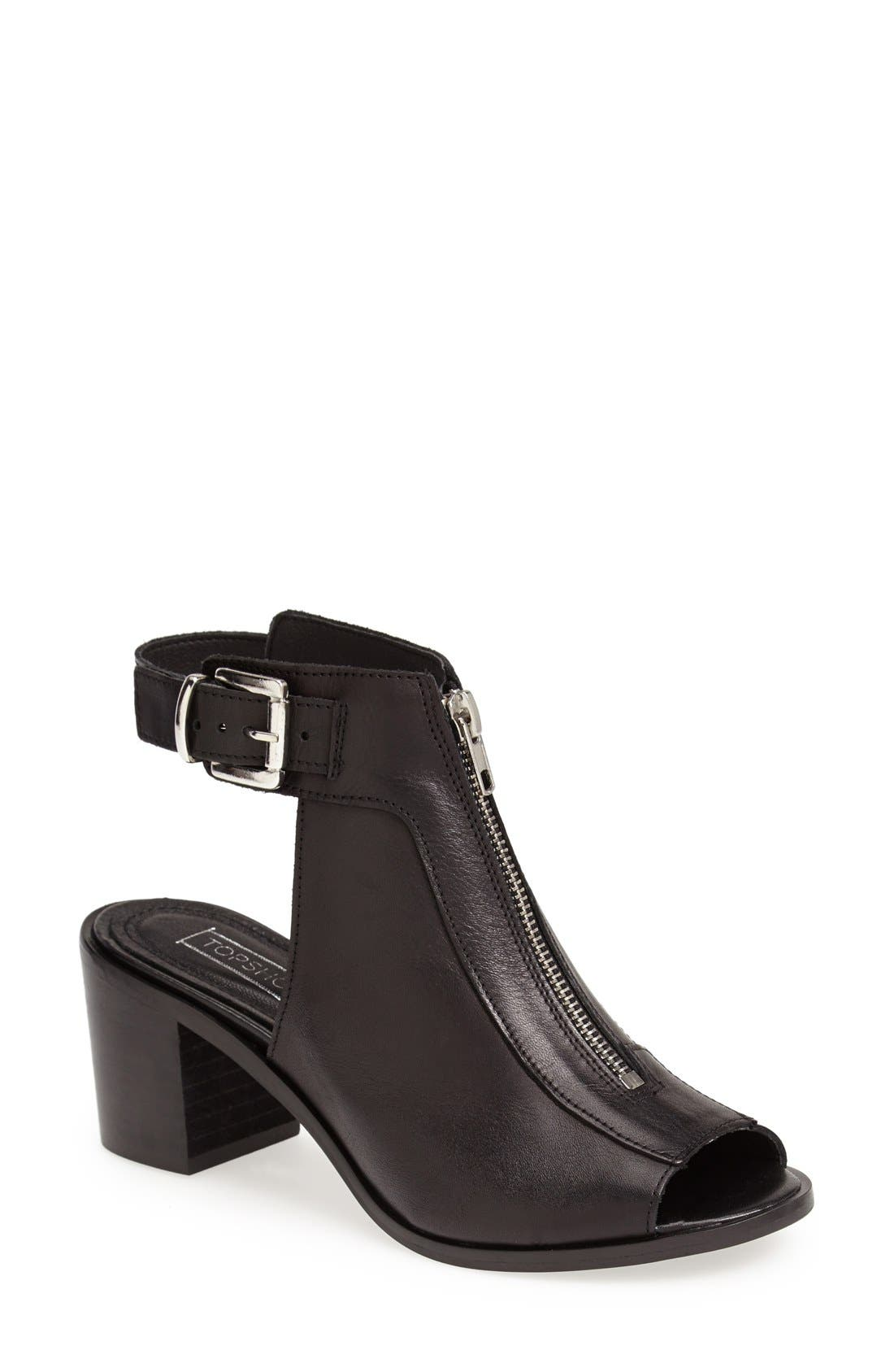 Alternate Image 1 Selected - Topshop 'Jada' Zip Front Sandal (Women)