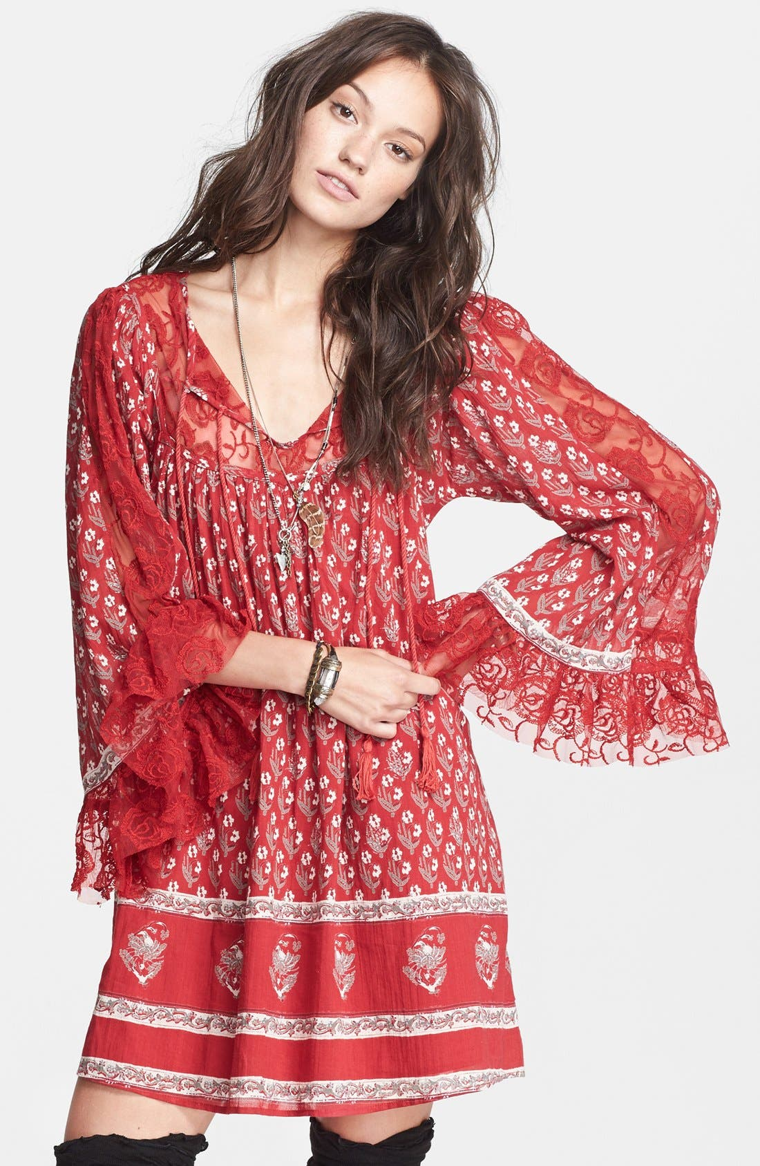 Alternate Image 4  - Free People Floral Print Butterfly Sleeve Cotton Dress
