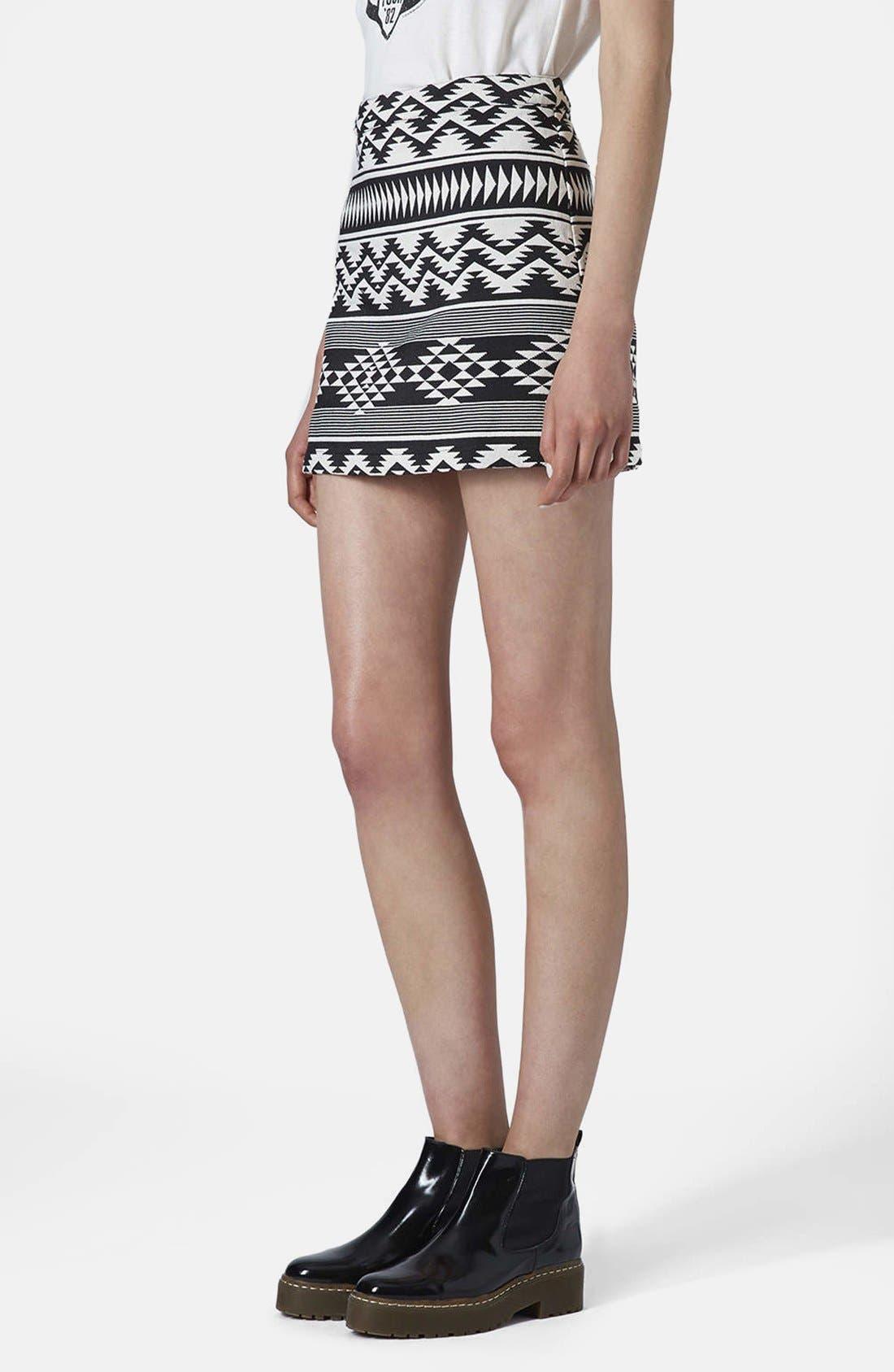 Main Image - Topshop Geo Print A-Line Skirt