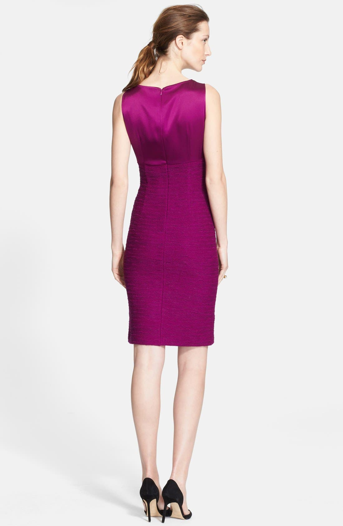Alternate Image 2  - St. John Collection Liquid Satin & New Shantung Knit Dress (Online Only)