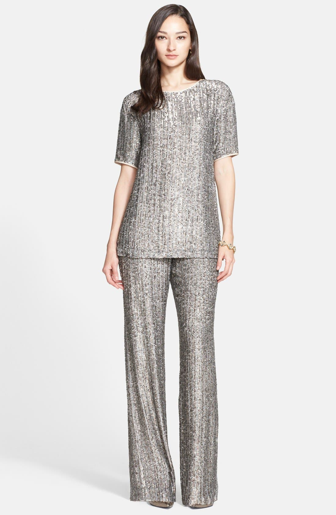 Alternate Image 1 Selected - St. John Collection Metallic Sequin Stripe Silk Top