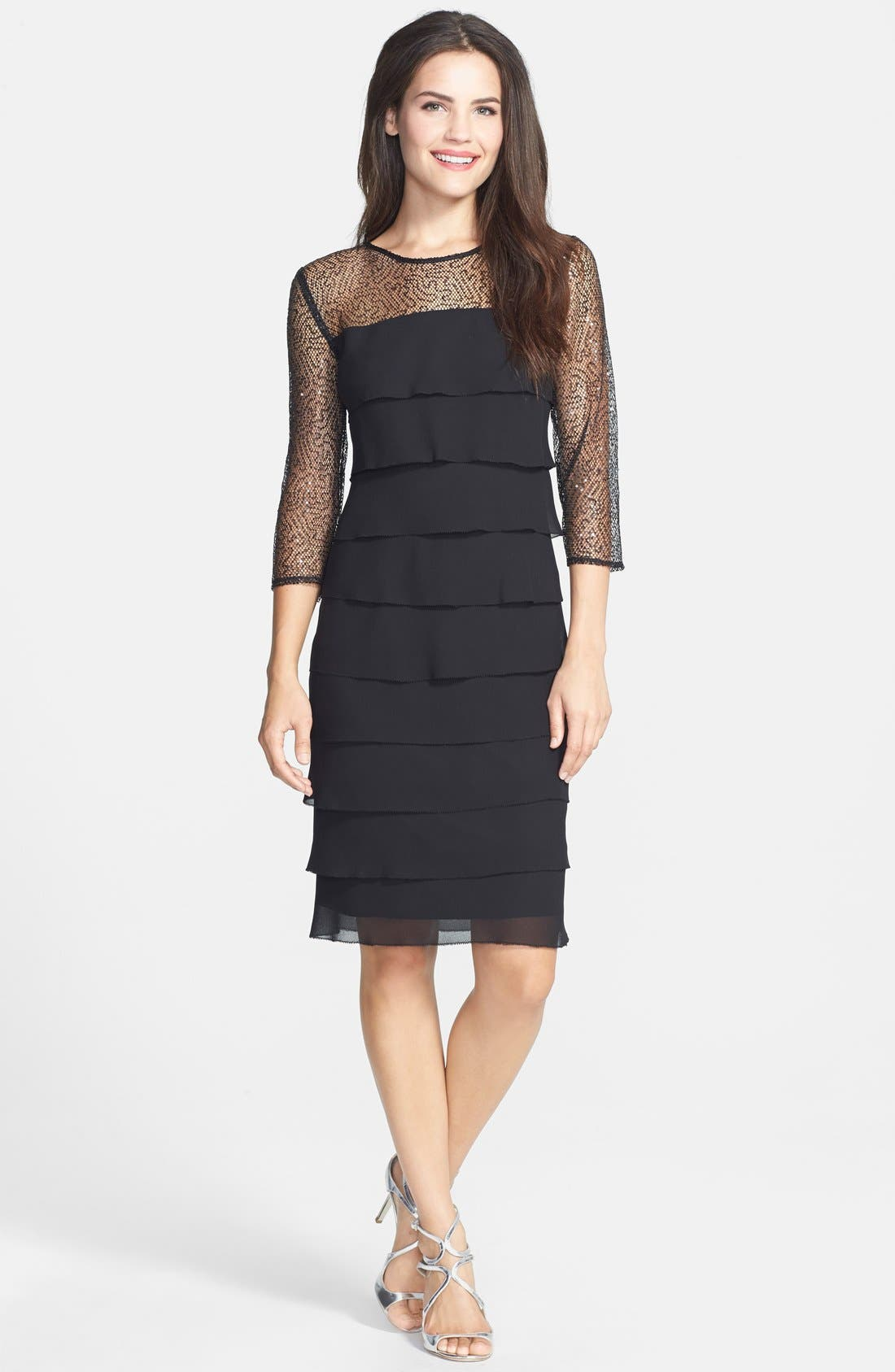 Alternate Image 3  - Alex Evenings Sequin Mesh Yoke Tiered Shift Dress