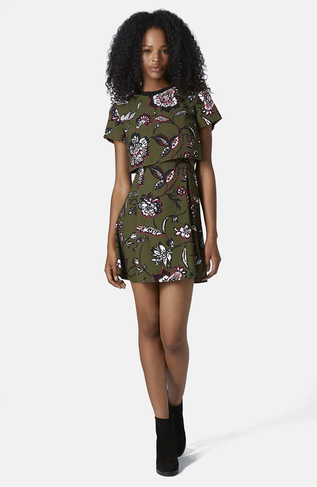 Alternate Image 4  - Topshop Floral Overlay Dress