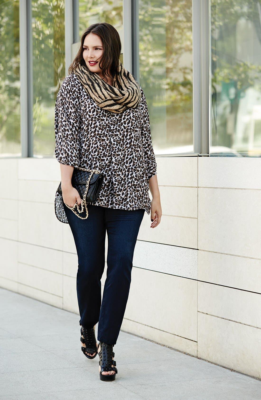 Alternate Image 1 Selected - Bellatrix Tunic Shirt & NYDJ Stretch Skinny Jeans (Plus Size)