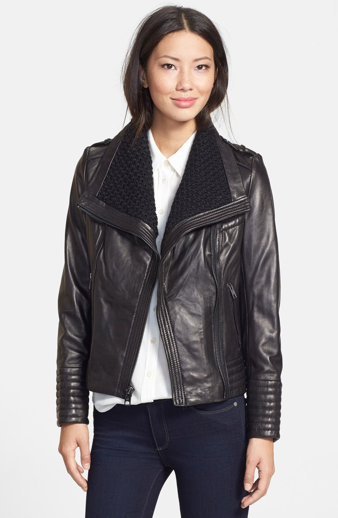 Alternate Image 1 Selected - MICHAEL Michael Kors Knit Collar Leather Jacket (Online Only)