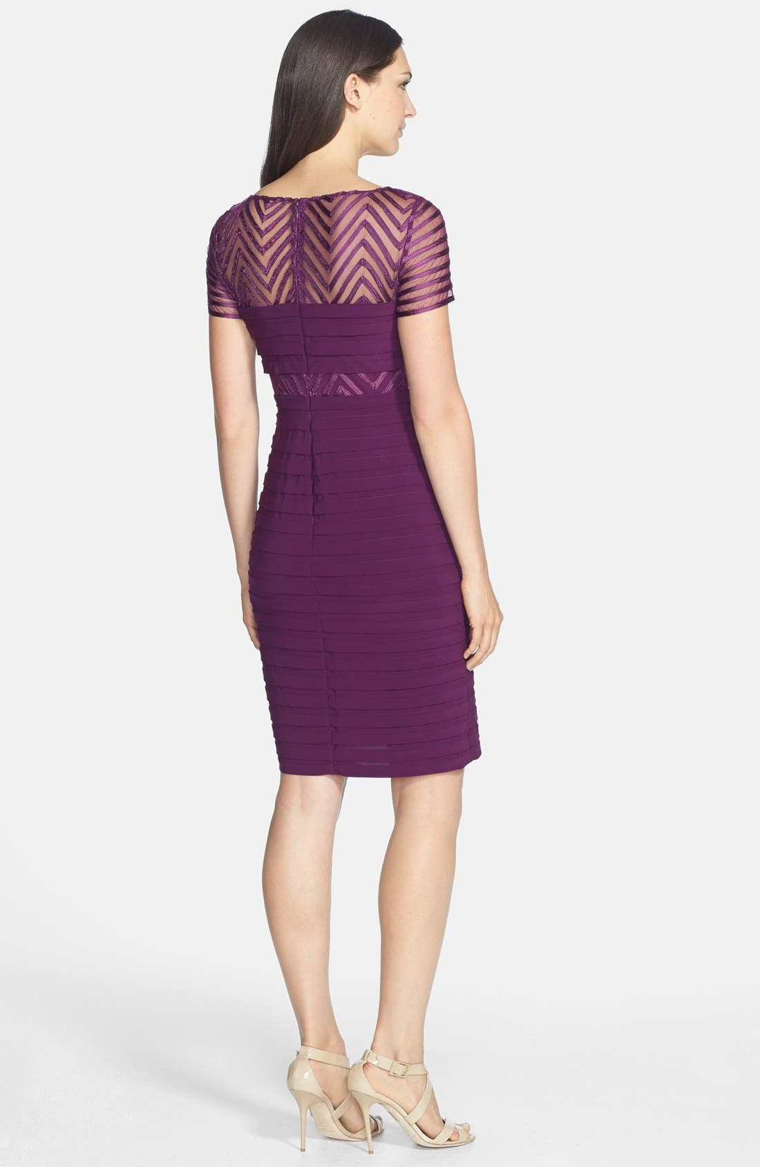 Alternate Image 2  - Adrianna Papell Illusion Yoke Jersey Sheath Dress (Regular & Petite)