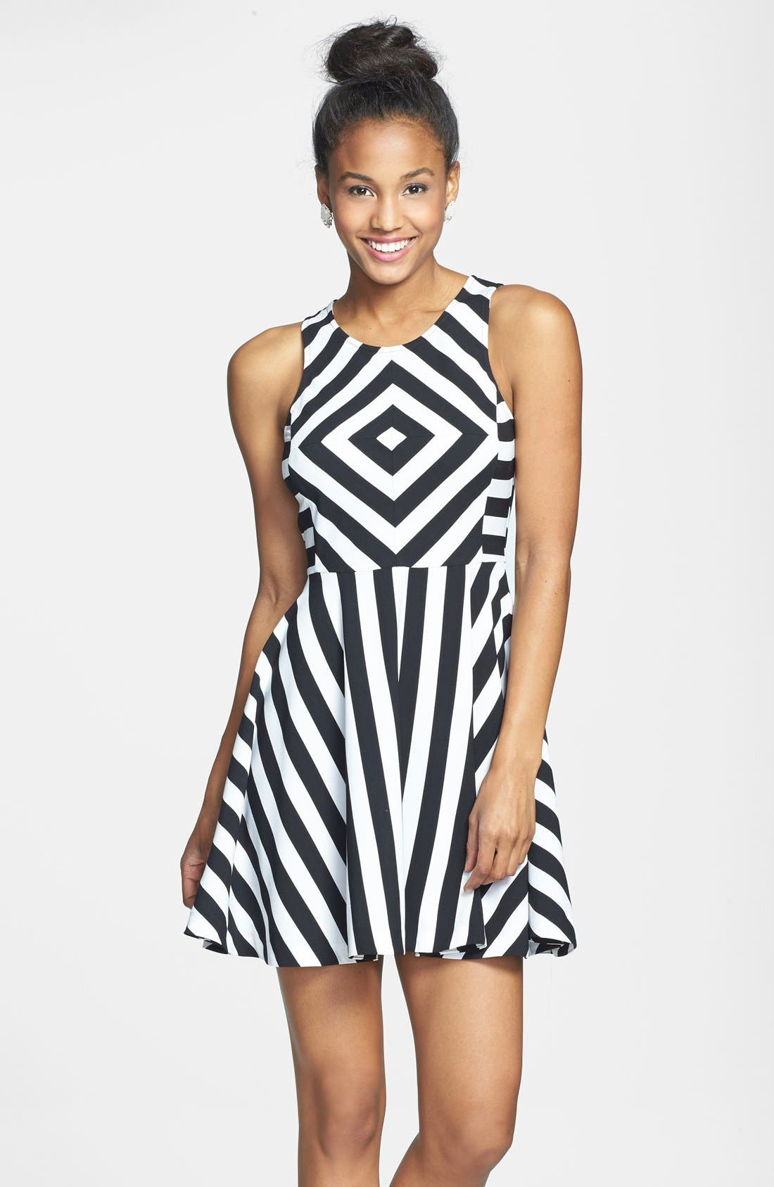 Main Image - Cream and Sugar Stripe Fit & Flare Dress (Juniors)