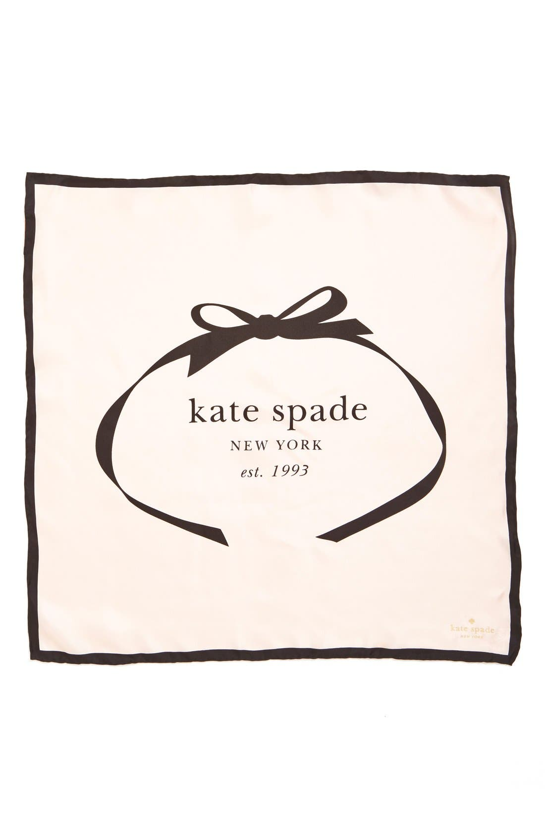 Main Image - kate spade new york bow logo small silk square scarf
