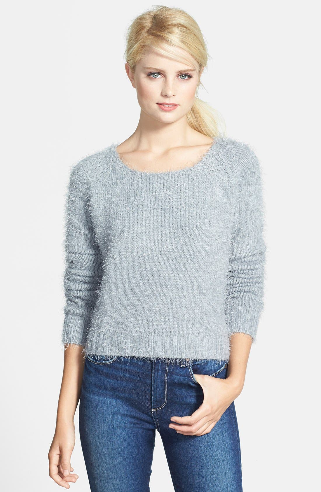 Alternate Image 1 Selected - Gibson Eyelash Yarn Crop Sweater