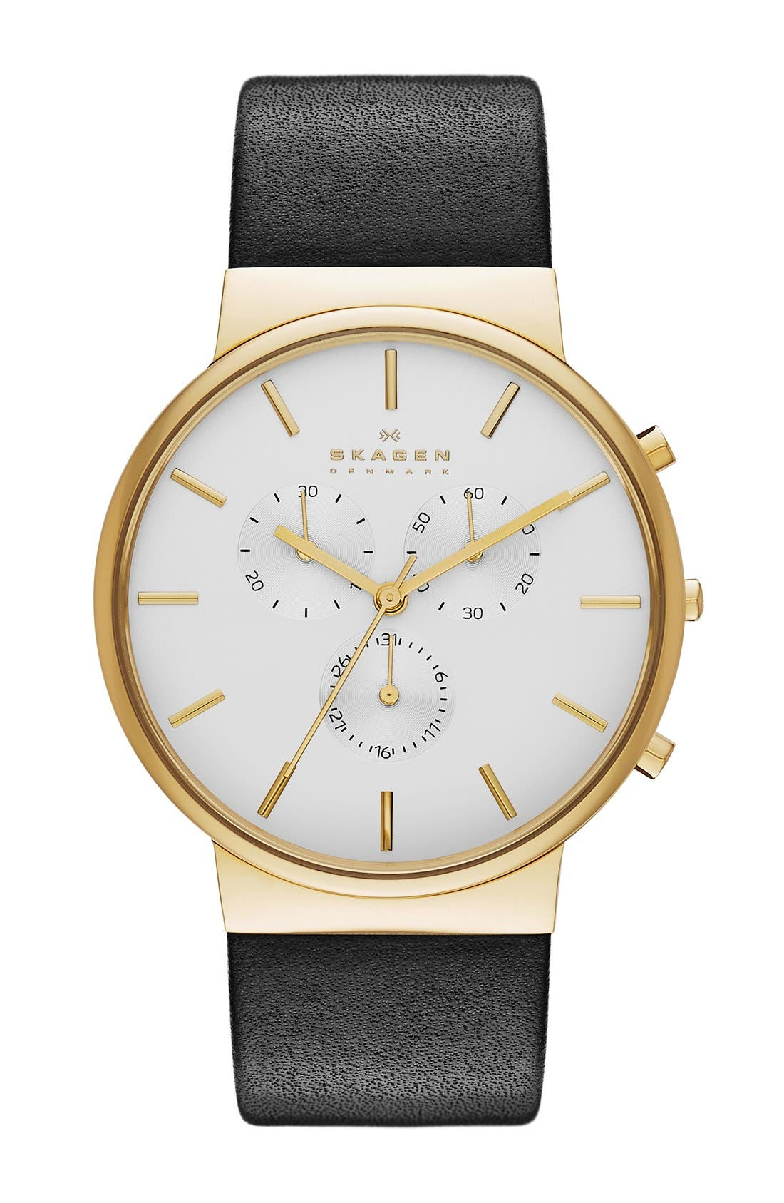 Alternate Image 1 Selected - Skagen 'Ancher' Chronograph Leather Strap Watch, 40mm