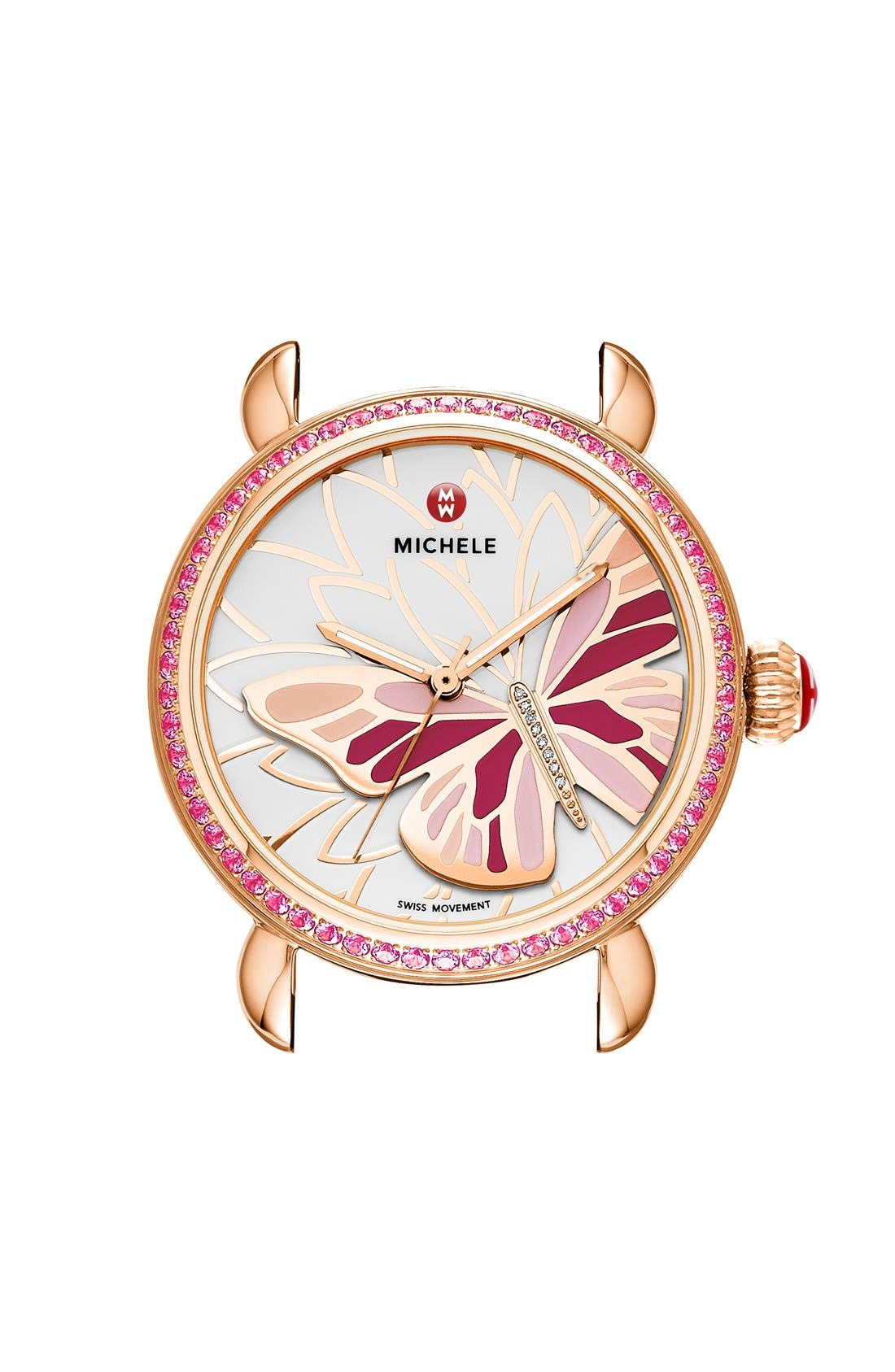 Main Image - MICHELE 'Garden Party' Topaz Bezel Butterfly Dial Watch Case, 36mm (Limited Edition)