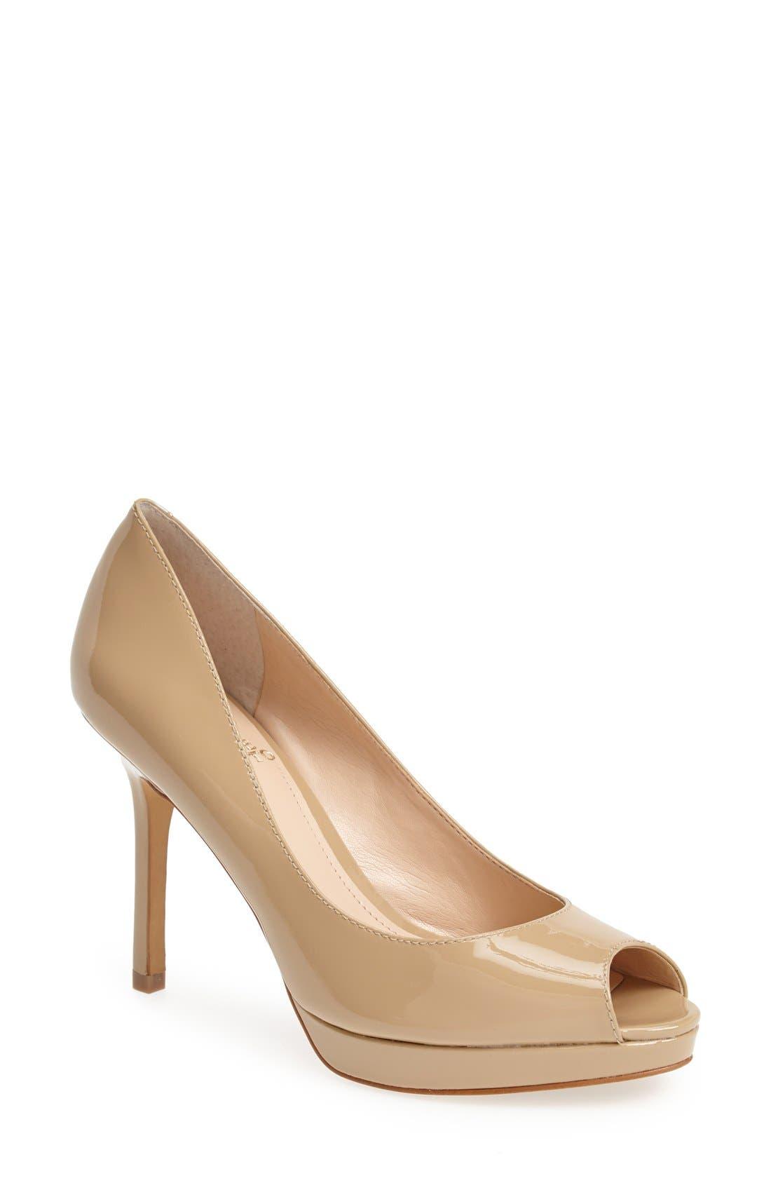 Alternate Image 1 Selected - Vince Camuto 'Coper' Peep Toe Leather Pump (Women)