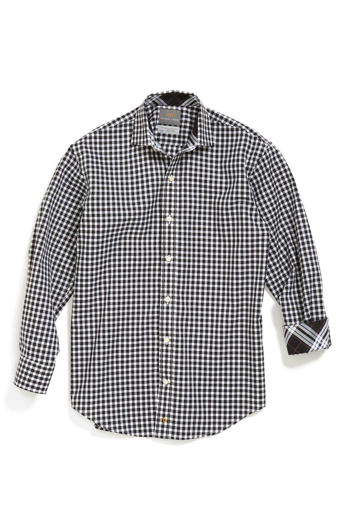 Main Image - Thomas Dean Gingham Cotton Poplin Dress Shirt (Big Boys)