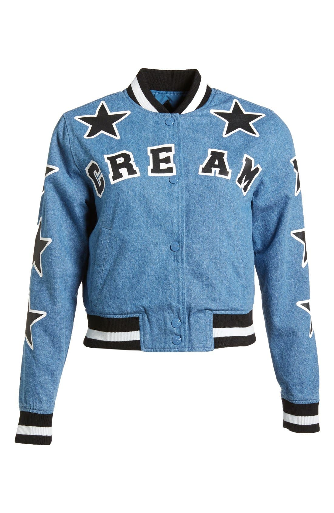 Alternate Image 1  - Mini Cream Denim Letterman's Jacket (Women)