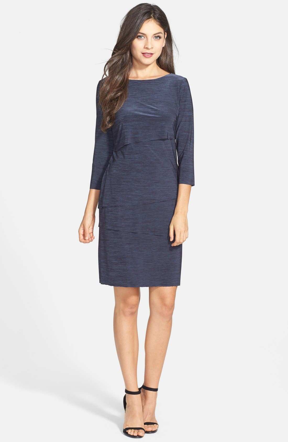 Alternate Image 2  - Tahari Tiered Jersey Sheath Dress (Petite)