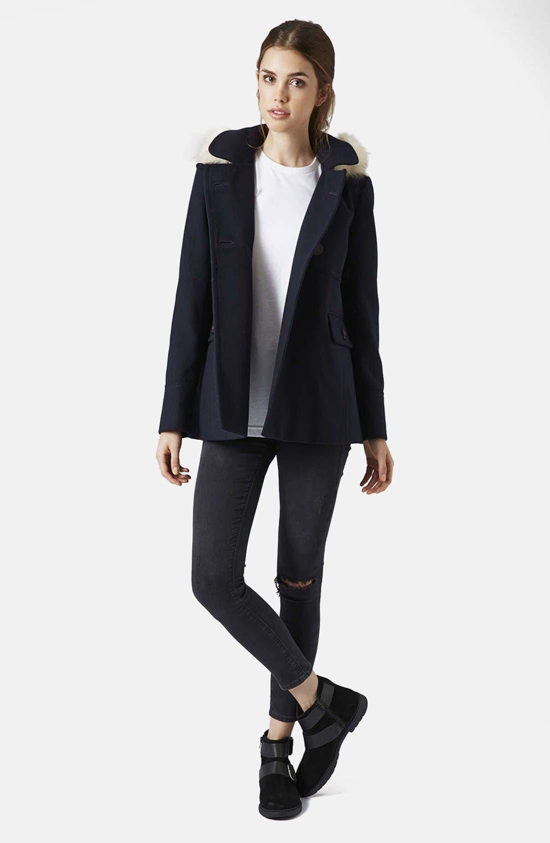 Alternate Image 4  - Topshop 'Lottie' Faux Fur Trim Hooded Coat