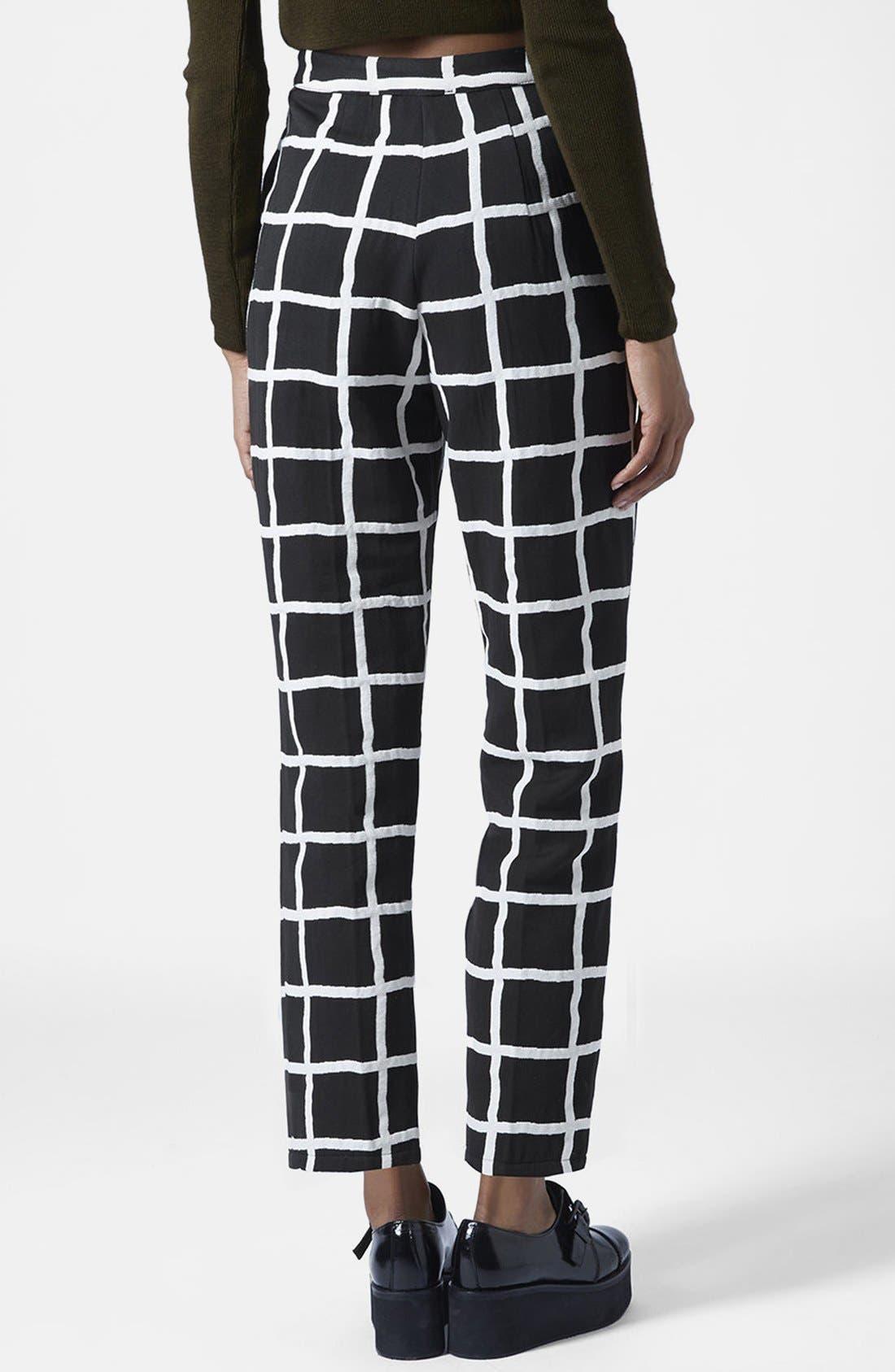Alternate Image 2  - Topshop Windowpane Peg Trousers