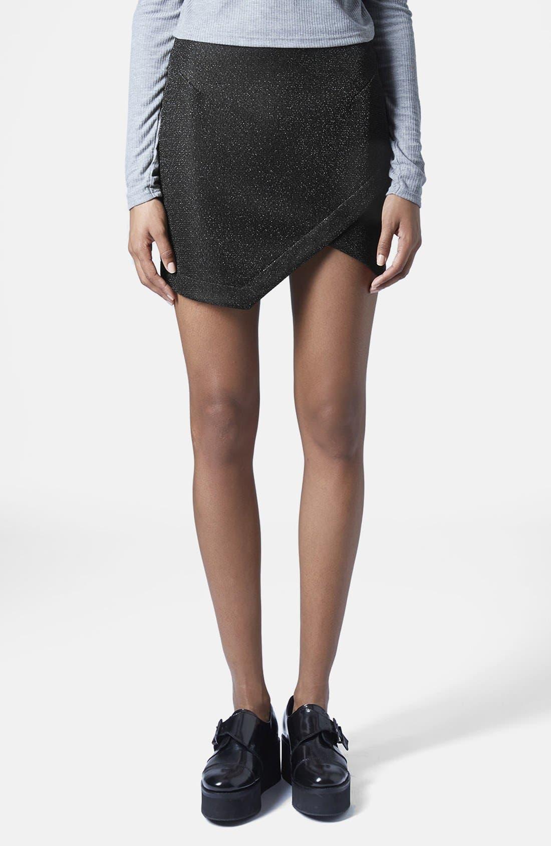 Main Image - Topshop Tinsel Wrap Miniskirt