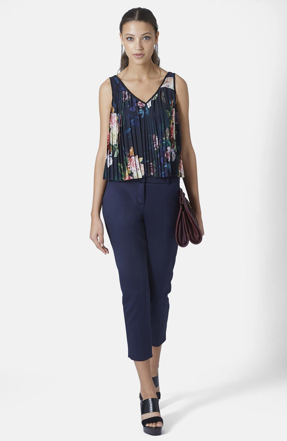 Alternate Image 5  - Topshop Floral Pleat Tank