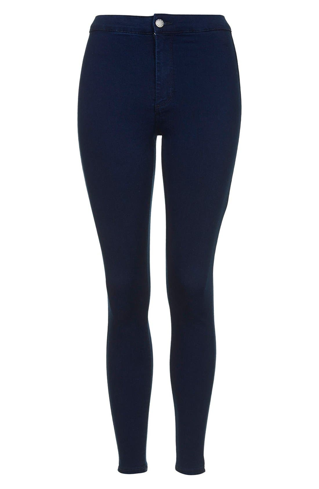 Alternate Image 3  - Topshop Moto 'Joni' High Rise Jeans (Blue) (Petite)