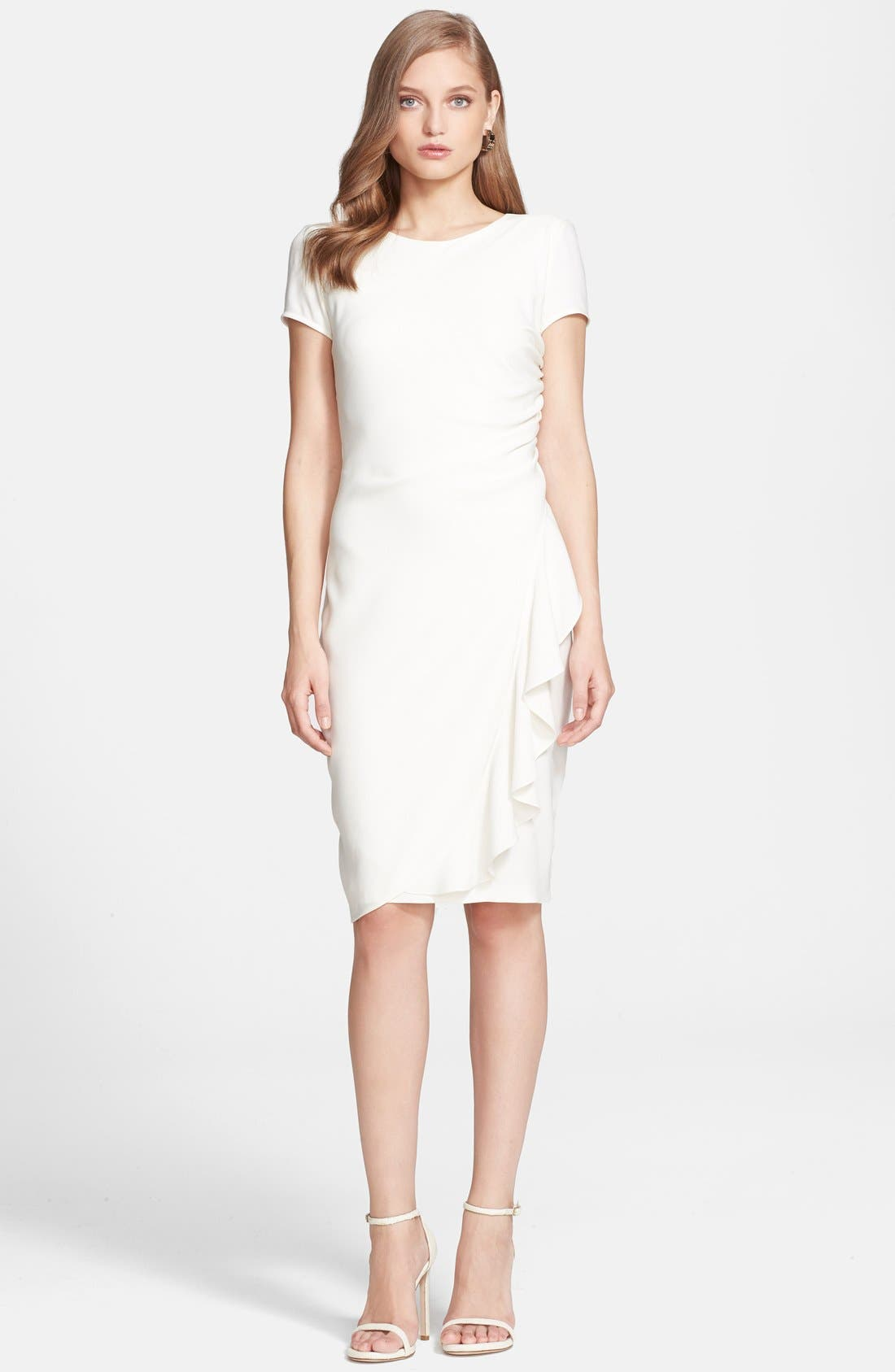 Main Image - St. John Collection Gathered Luxe Crepe Dress