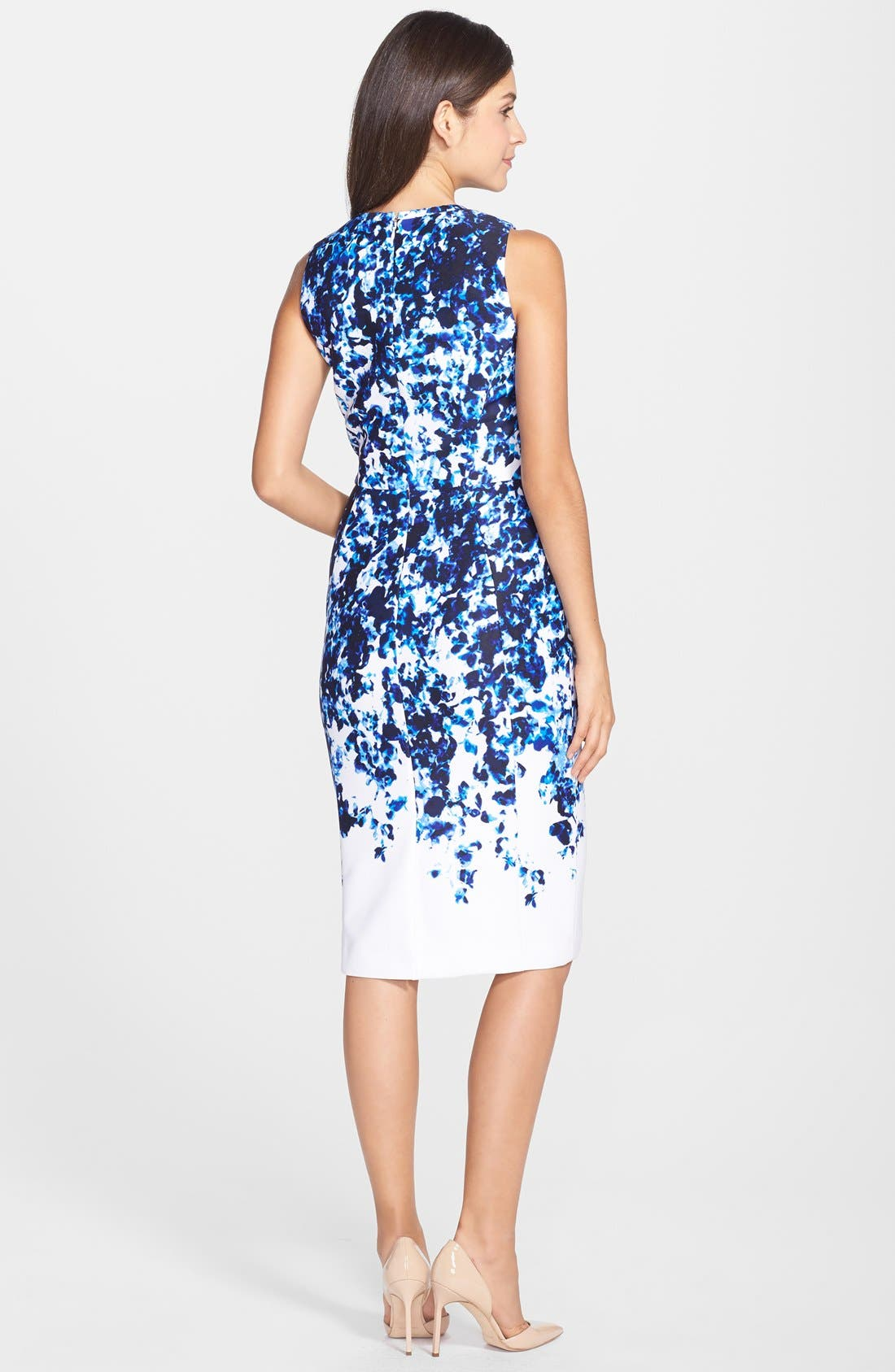 Alternate Image 2  - Vince Camuto Print Scuba Sheath Dress (Regular & Petite)