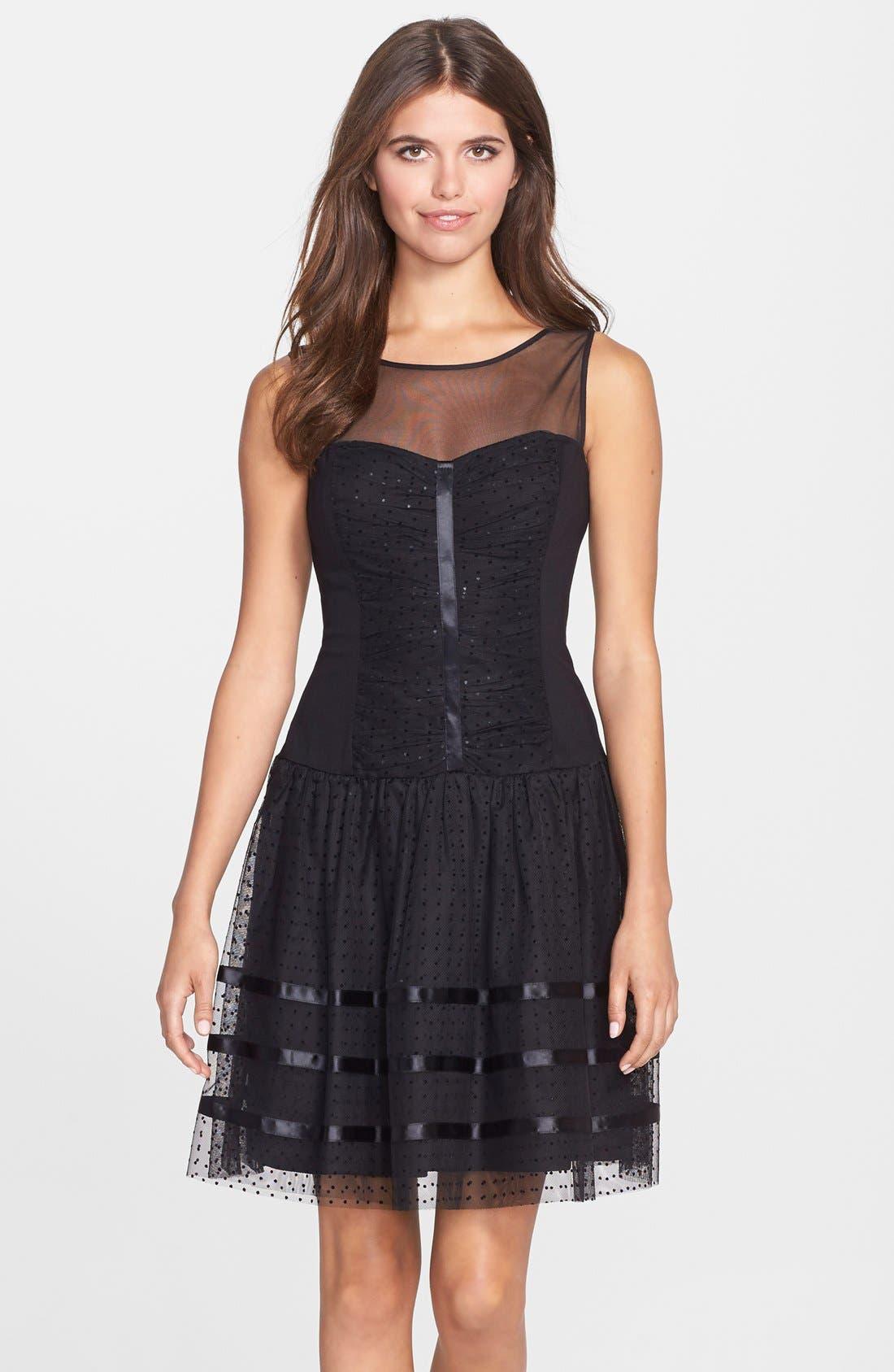 Main Image - Betsey Johnson Illusion Yoke Dot Mesh Fit & Flare Dress