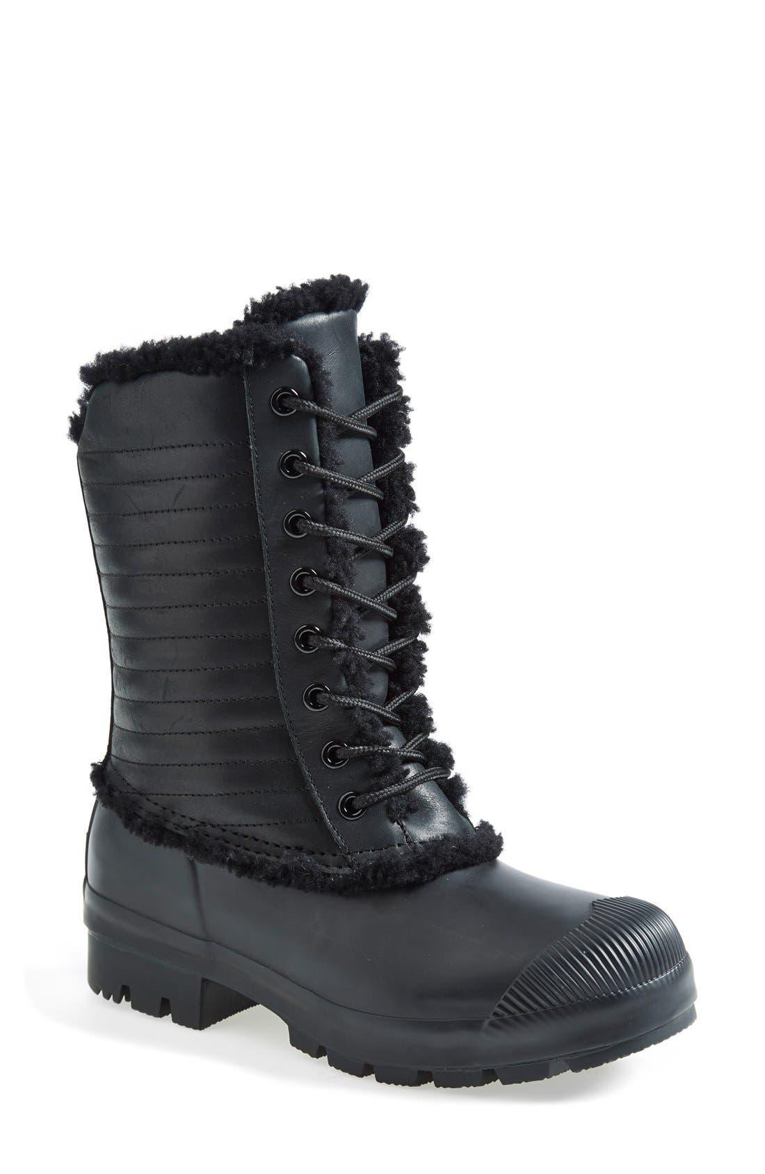 Alternate Image 1 Selected - Hunter Original Genuine Shearling & Patent Leather Lace-Up Rain Boot (Women)
