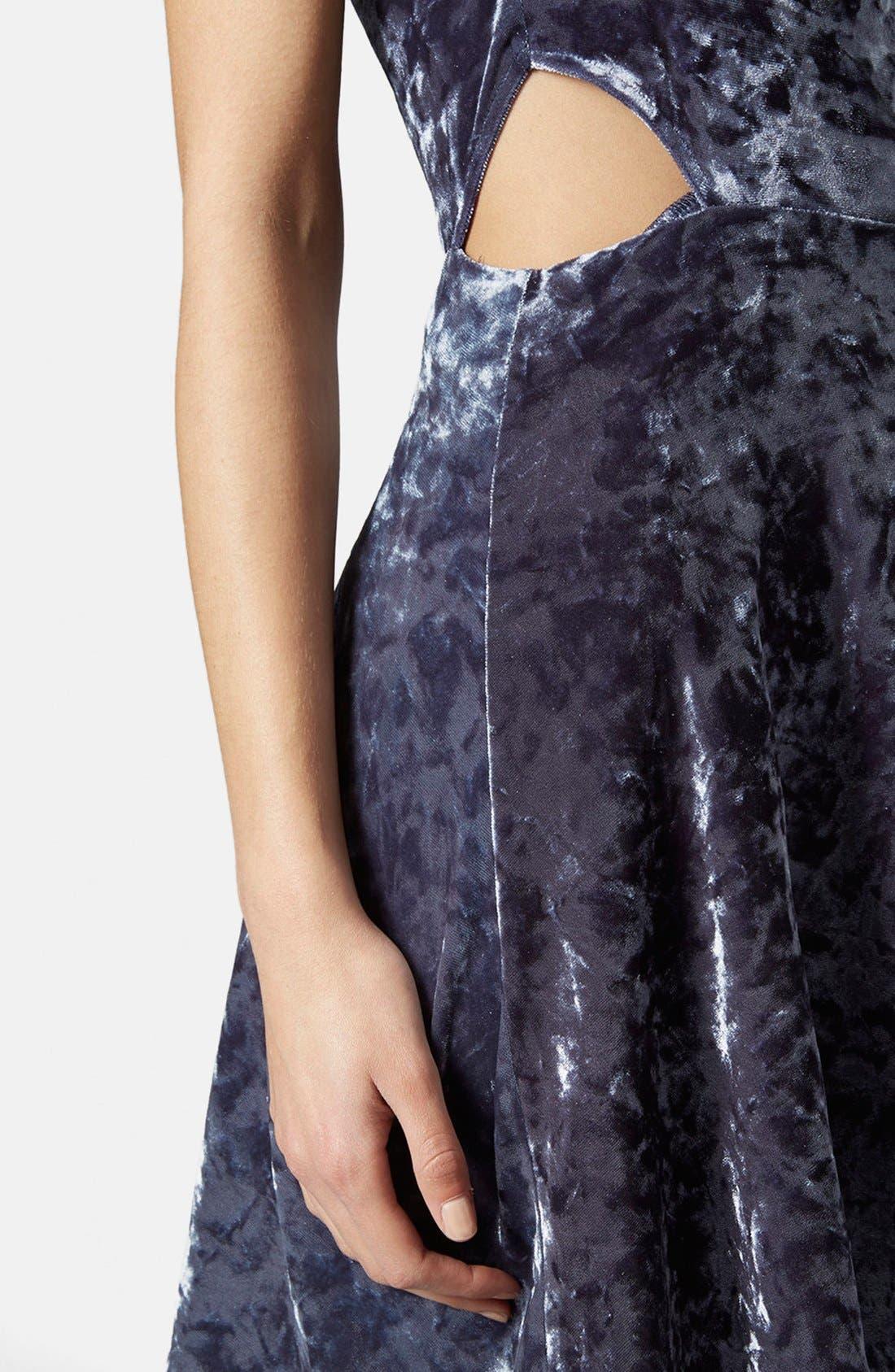 Alternate Image 4  - Topshop Cutout Velvet Dress
